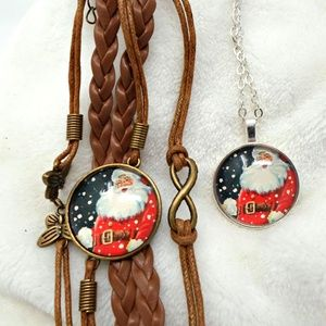 Jewelry - Santa Claus Pendant and Bracelet Jewelry Set